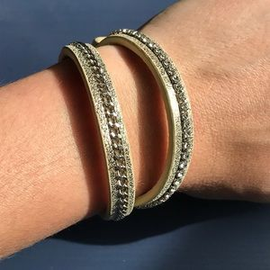 Gap gold leather wrap bracelet